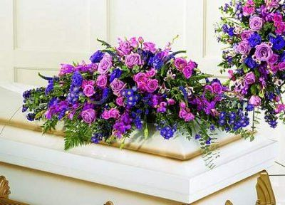 purple and red casket spray | Blanket of Flowers™ Casket Spray from Florist in Raleigh, NC ...
