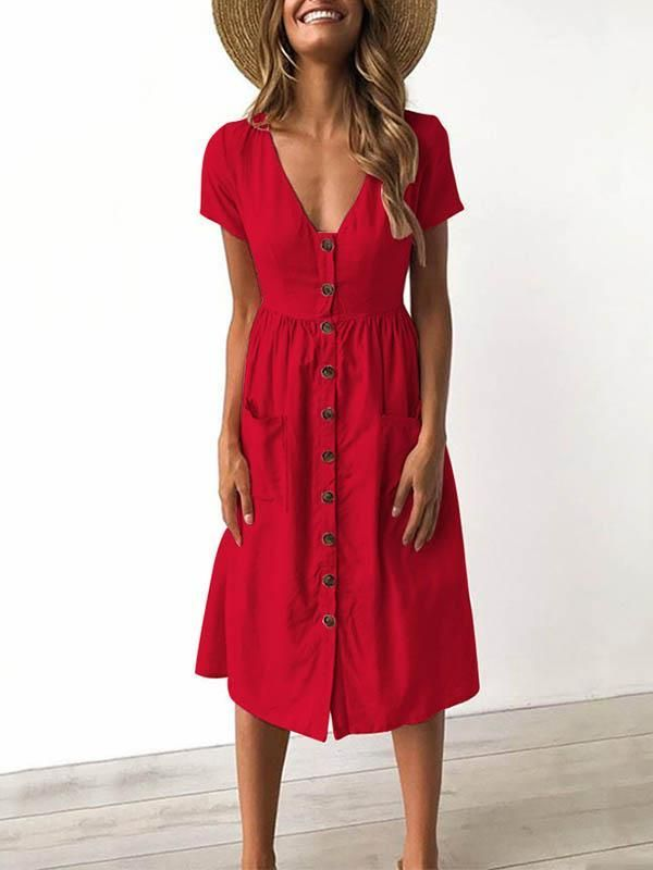 6 Colors V-neck Button Pocket Patched Short Sleeves Midi Dress 2