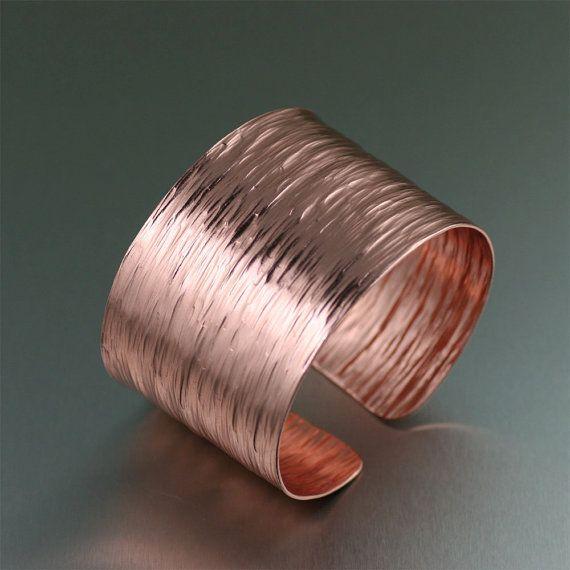 Chased Copper Bark Cuff Bracelet by johnsbrana on Etsy, $70.00