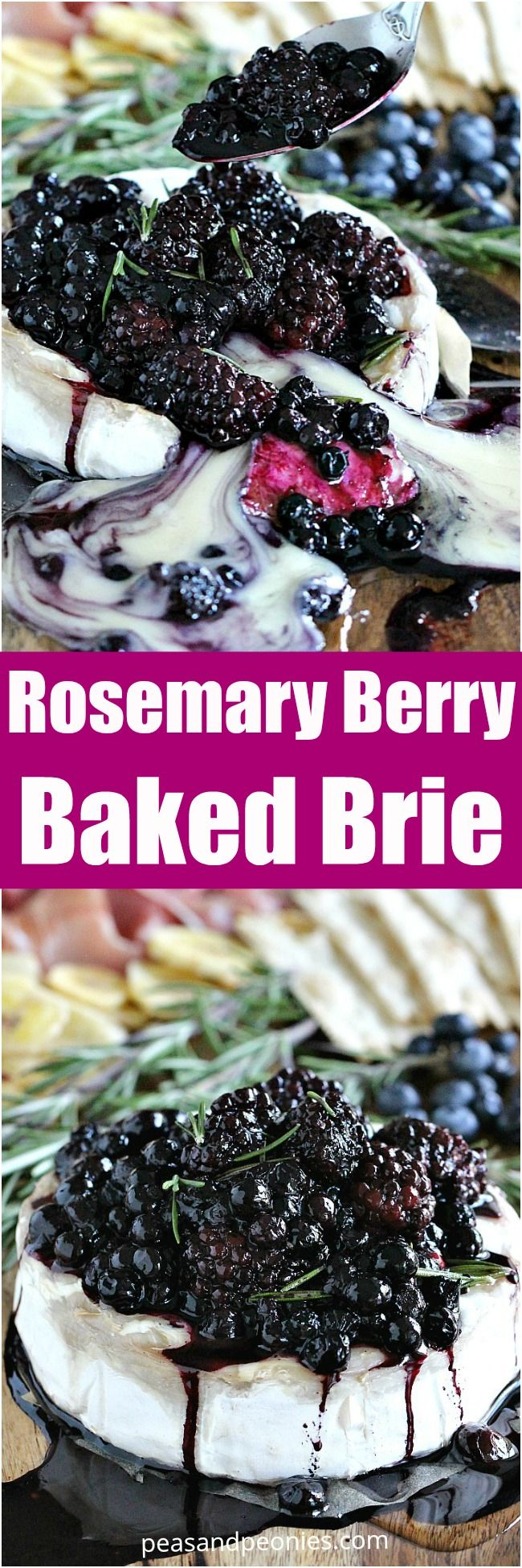 Rosemary Berry Baked Brie is a creamy and flavorful showstopper appetizer. Topped with coconut oil roasted berries and fresh rosemary for maximum flavor.