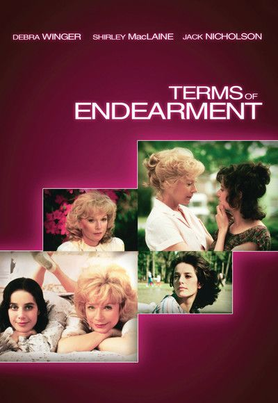 1983:Terms of Endearment comedy-drama directed, written, and produced by James L. Brooks starring Shirley MacLaine, Debra Winger, Jack Nicholson, Danny DeVito. covers 30 years of the relationship between Aurora Greenway (MacLaine) and her daughter Emma (Winger). received eleven Academy Award nominations won five. Brooks won the Academy Awards for Best Picture, Best Director, and Best Writing while MacLaine won Best Actress and Nicholson won Best Supporting Actor..(BP)
