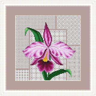 Gráfico de Ponto Cruz - Flores / Orquídeas - Esquemas de Ponto de Cruz