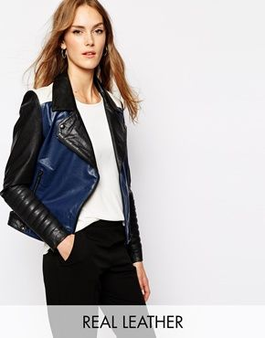 Enlarge Y.A.S Aviator Leather Biker Jacket in Colourblock