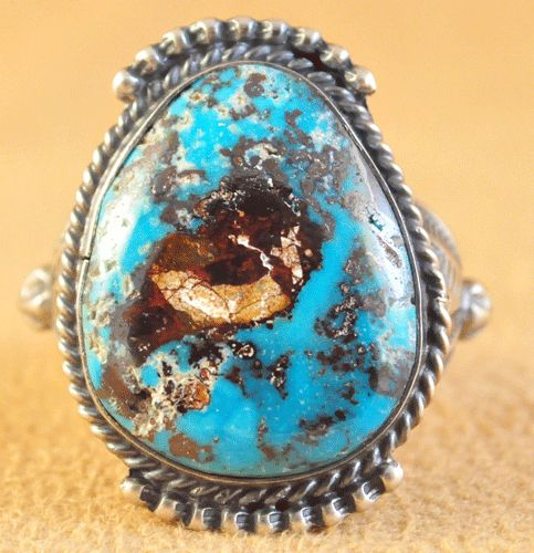 Handmade ring, with natural rare Candelaria Turquoise, by Navajo artist Kelly Morgan.