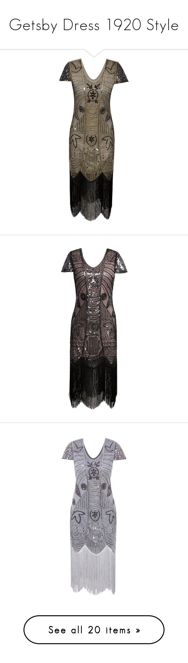 """""""Getsby Dress 1920 Style"""" by tatyanareva ❤ liked on Polyvore featuring dresses, long flapper dress, 1920s dresses, sequin cocktail dresses, 1920s flapper dress, sequin flapper dresses, fringe cocktail dresses, sequin fringe dress, 20s flapper dress and sequined dress"""