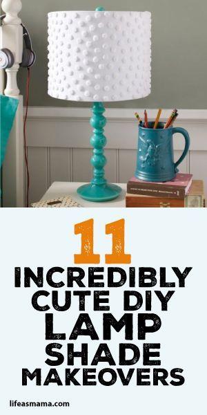 11 Incredibly Cute DIY Lamp Shade Makeovers - http://centophobe.com/11-incredibly-cute-diy-lamp-shade-makeovers/ -
