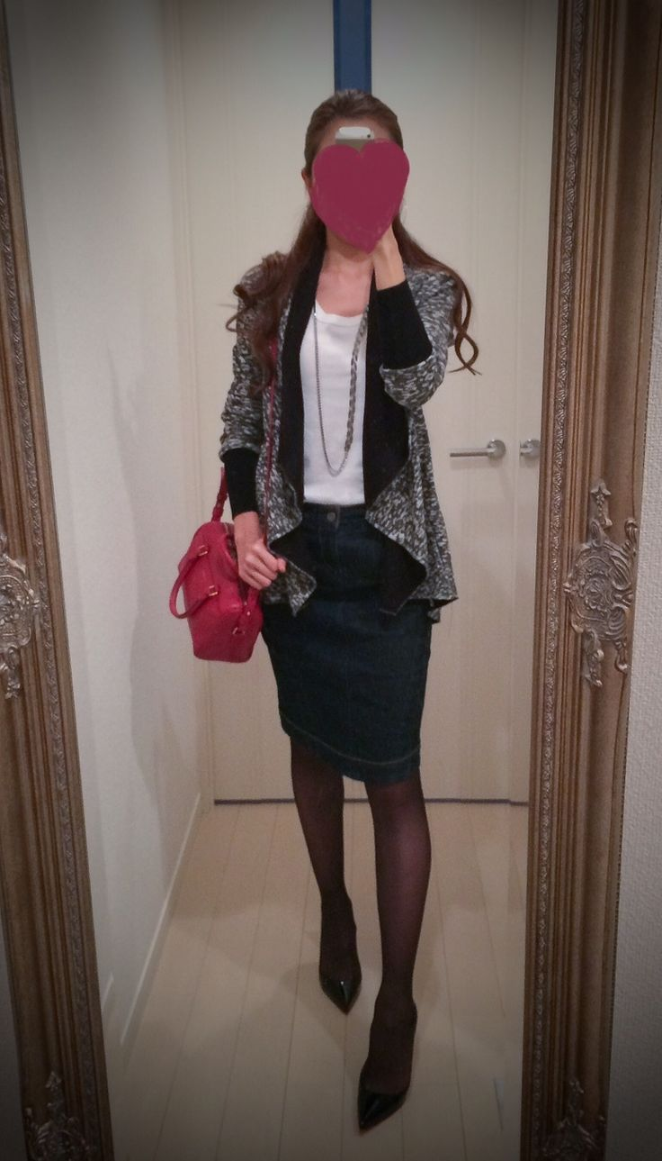Blue skirt with white top and black gray sweater - http://ameblo.jp/nyprtkifml