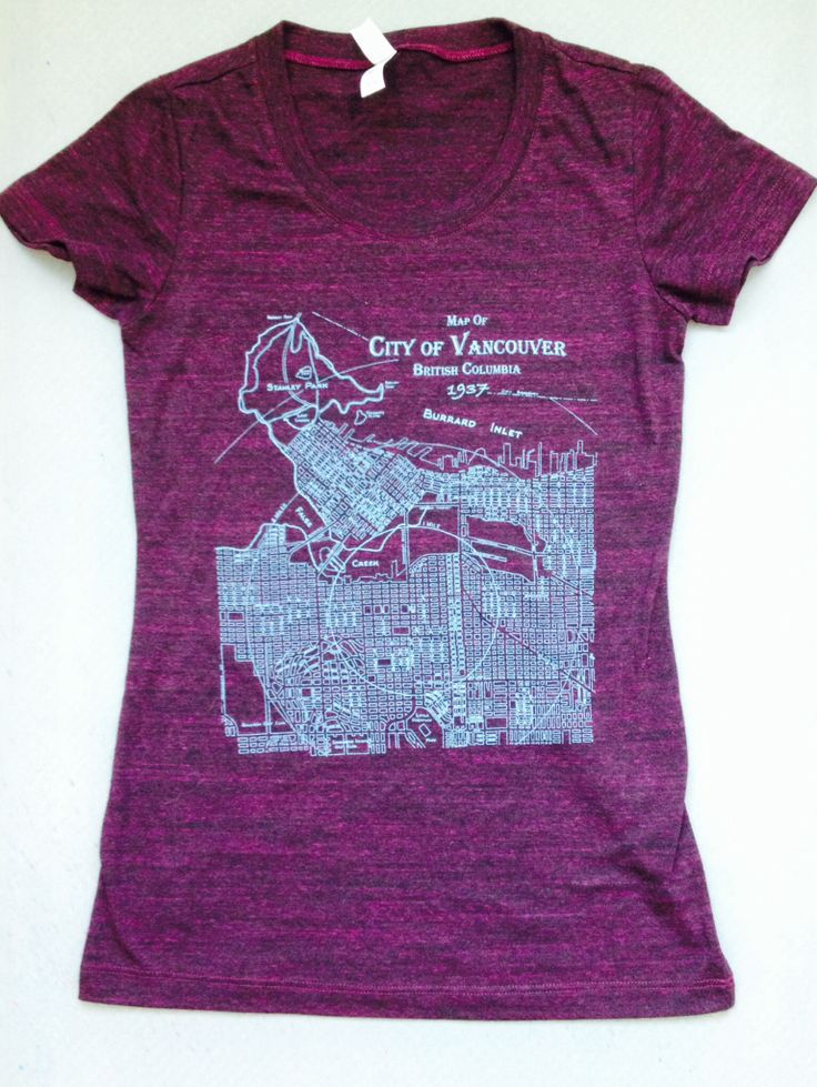 We have a few of these amethyst tees printed with our 1937 Vancouver map!