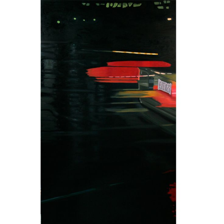 """EZE 123 - oil on canvas, 60 x 36"""" (150 x 90 cm) - cars tail lights while speeding through the rainy streets at night"""