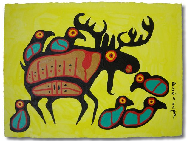 Moose and Birds - Norval Morrisseau