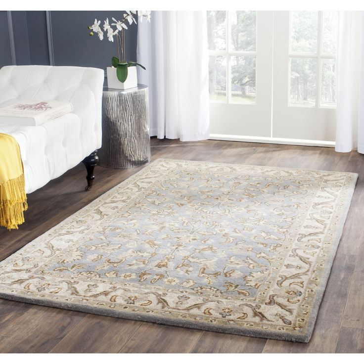 Stella Collection Hand Tufted Area Rug In Beige Light: Safavieh Hand-Tufted Stratford Light Blue/ Ivory N.Z. Wool