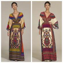 Мексиканская одежда хиппи Boho шик этнической халат Vestido партии свободного покроя v-образным вырезом печать вспышка рукав макси платья кимоно MHD056(China (Mainland))