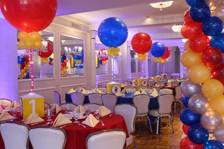 """Daniel The Tiger First Birthday Daniel The Tiger First Birthday with Photo Cube Centerpieces, 36"""" Balloons & Lights & Balloon Columns at Colonial Terrace"""