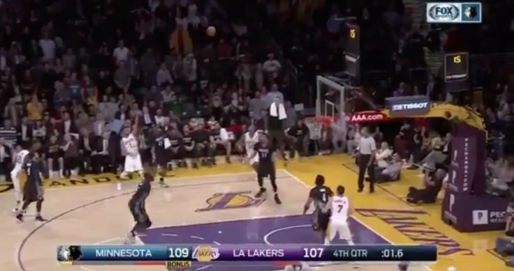 WATCH: Lakers' D'Angelo Russell hits game-winning buzzer-beater = [video] The Los Angeles Lakers and Minnesota Timberwolves played a game on Sunday night that had zero impact on the 2016-17 playoff picture, but a whole lot on the line when it came to…..