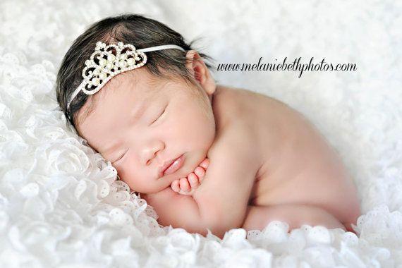 Baby Headband Baby Tiara Crystal & Pearl by TheFairyFactoryShop, $8.95