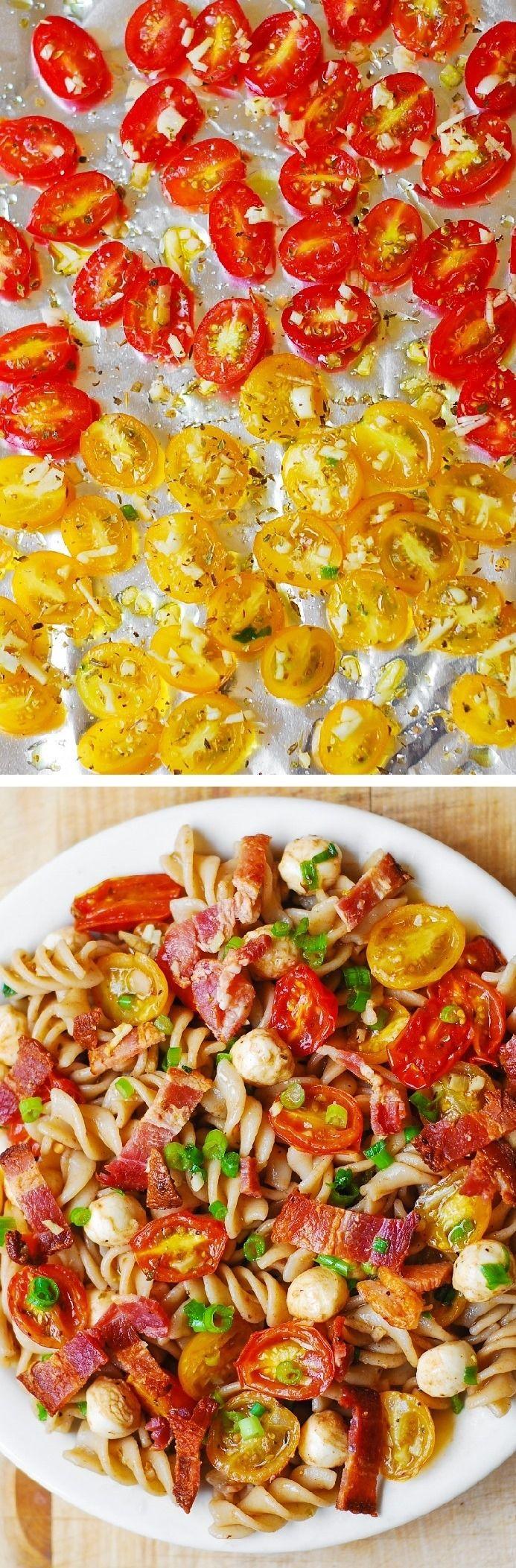 Pasta Salad with Bacon, Garlic Roasted Tomatoes and Mozzarella – delicious, healthy recipe!