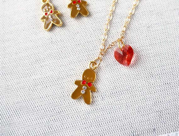 Christmas Gingerbread man Charm Necklace  Xmas