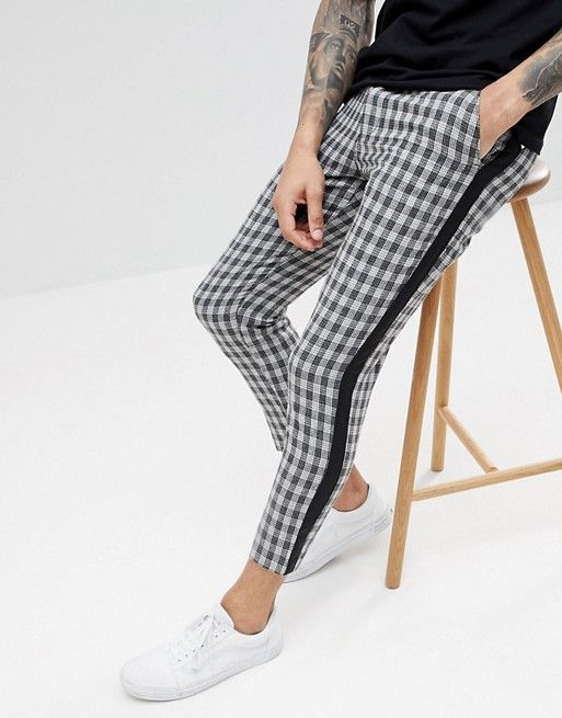 b93d8768838413 boohooMAN Pants With Side Stripe In Gray Check | pants | Fashion ...