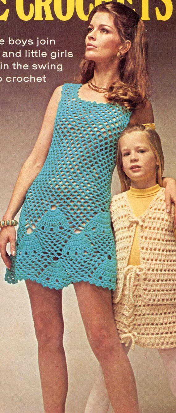 1970's Crochet Dress Pattern Seashell Shift by PearlShoreCat