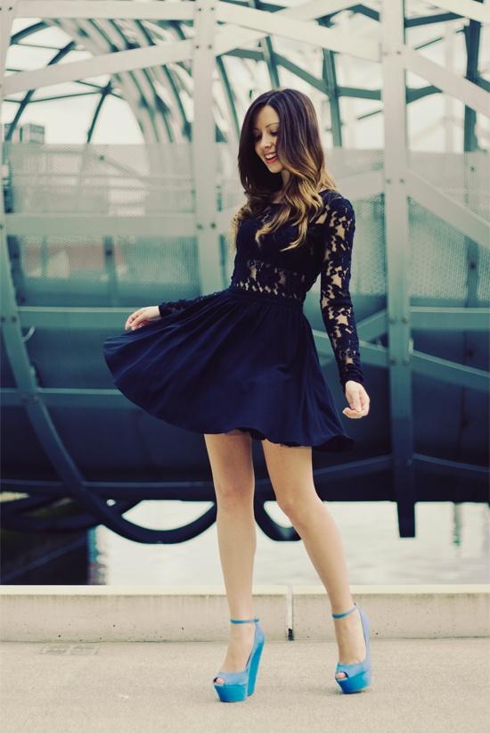 <3Baby Blue, Fashion, Lace Tops, Outfit, Blue Shoes, Heels, Black Lace Dresses, Little Black Dresses, The Dresses