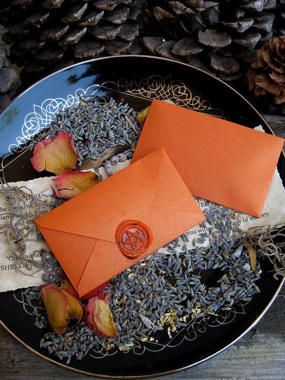SpellvelopesSeals Wax, Pagan Altar Inspiration, Spelling Envelopes, Magic Property, Orange Envelopes, Magick Ritual, Witchy Pagan, Pagan Life, Love Spelling