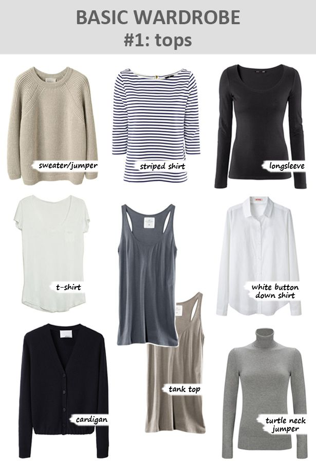 Basic wardrobe: tops. Notice they are all neutrals!
