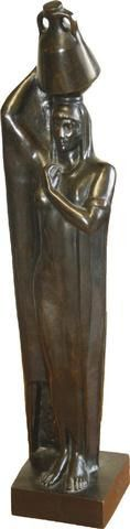 Adjugé 41 500 euros par l'Hôtel des ventes du Tarn à Albi le 6 avril 2014 - Mahmoud MOUKHTAR (MOKHTAR) (1891-1934) «Au bord du Nil» Bronze, Susse Frères Editions et cachet.