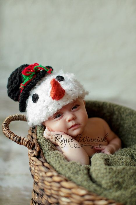 Baby Boy or Baby Girl Crochet Hat Snowman Photography Prop Sizes Preemie, Newborn, 0-3 months, 3-6 months