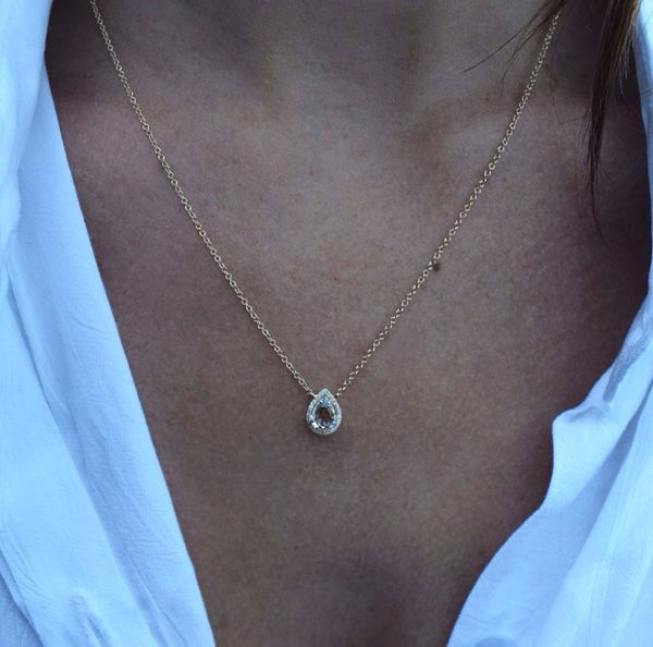 14kt gold teardrop necklace – Luna Skye by Samantha Conn