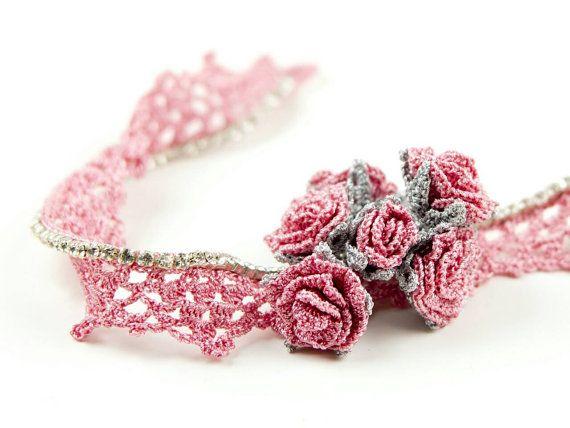 Necklace-Bohemian Handmade Crochet Pink Roses Flower Bouquet