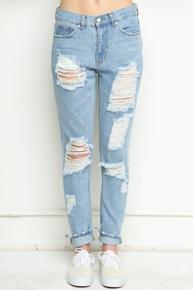 1000  ideas about Ripped Boyfriend Jeans on Pinterest | Boyfriend