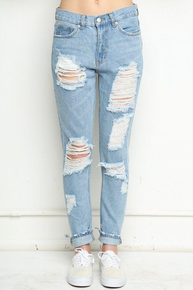 Brandy ♥ Melville | Destroyed Boyfriend Denim Jeans - Clothing