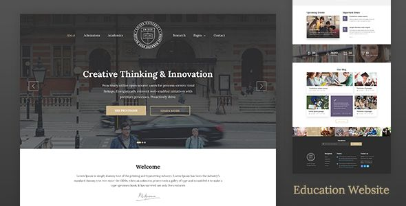 Unisco is a creative, modern and minimal education website template for school, college, and university. It can also be used for any other businesses or services  Unisco is a perfect website templa...