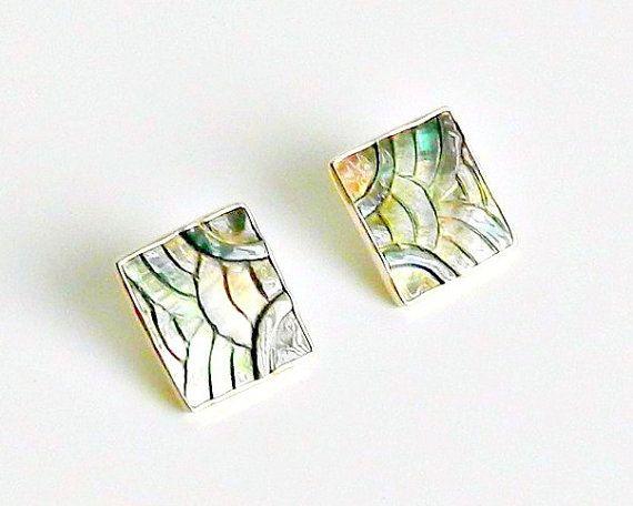 Art Deco Carved Abalone Earrings Janice Lee Ripley by retrogroovie