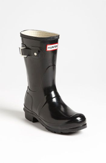 Hunter 'Original Short' Gloss Rain Boot. I like these more than the tall, a little more casual. Just maybe not in black-navy or coral.