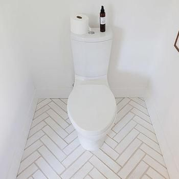 Modern Bathroom with White Herringbone Floors, Modern, Bathroom