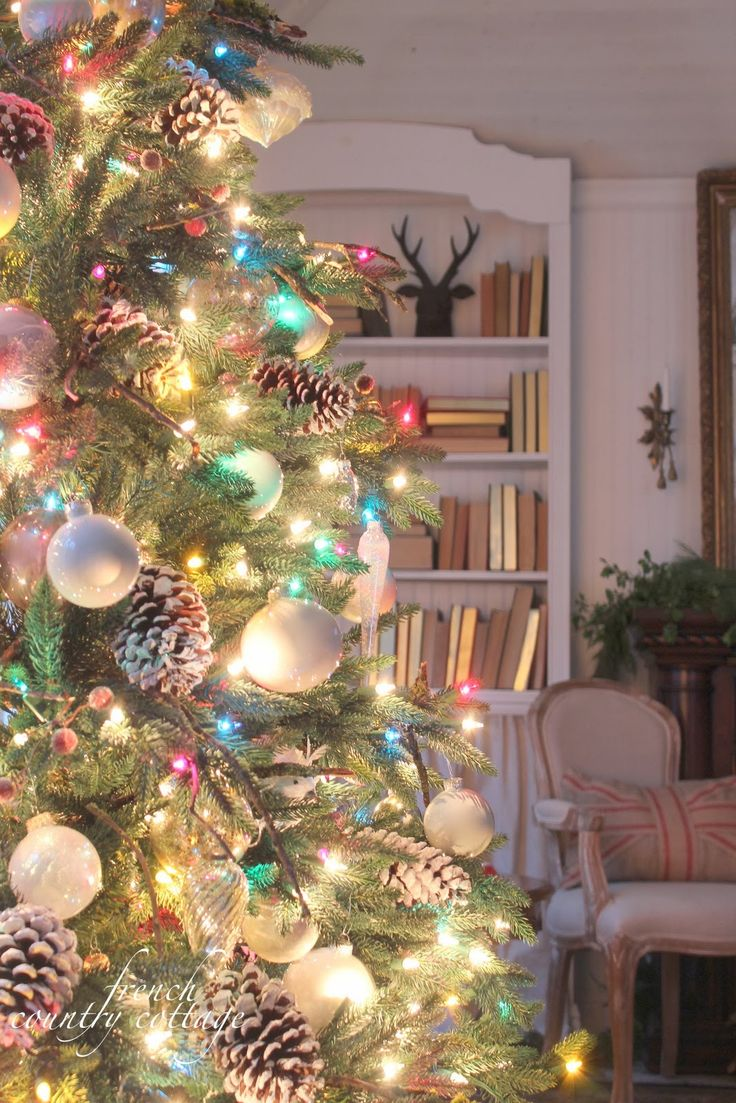Christmas- colorful lights, white ornaments.