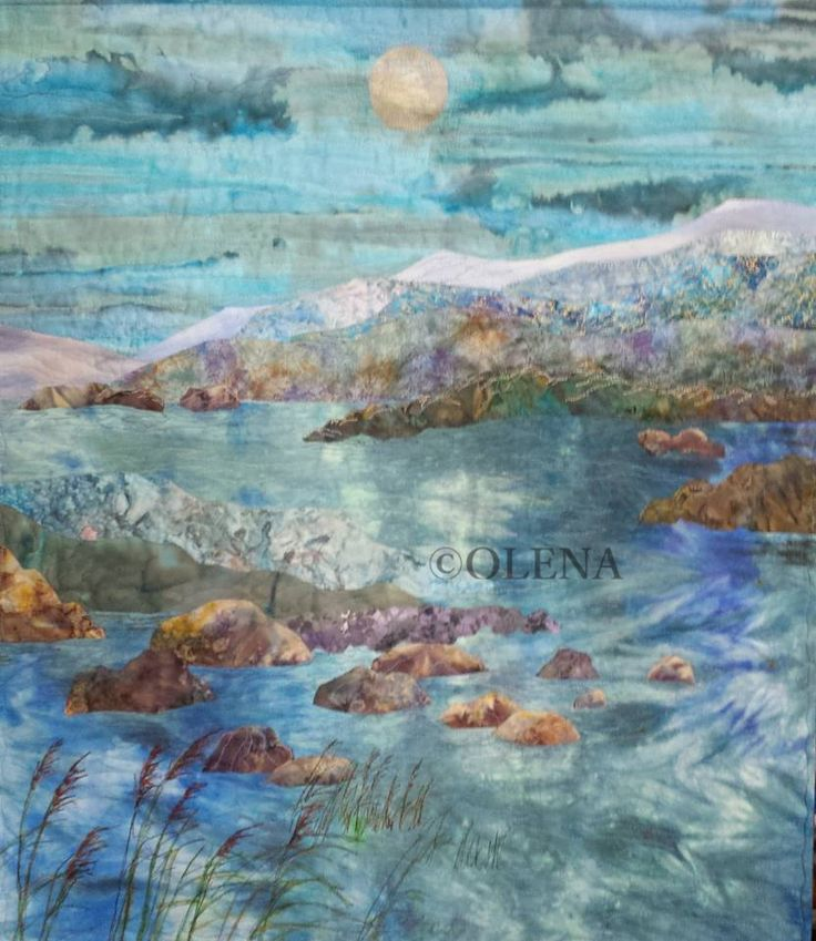 229 best ocean images on Pinterest | Landscapes, Painting and ... : landscape quilting fabric - Adamdwight.com