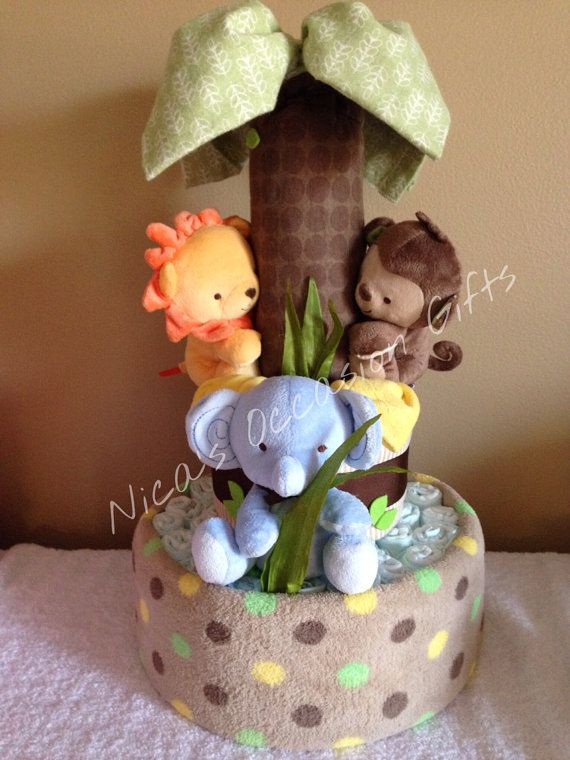 Wild Safari Diaper Cake by NicasOccasionGifts on Etsy