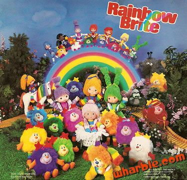 Rainbow Brite - My sister and I used to collect these colorful plush toys... Rainbow Brite, Patty  O Green, Red Butler, Indigo, Canary Yellow, Buddy Blue, Lala Orange, Shy Violet, their Sprites, Starlite, Murky and Lurky!