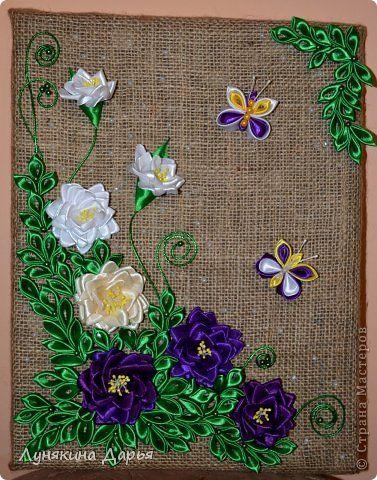 Картина панно рисунок Коллективная работа Цумами Канзаши Панно Чудесный сад Бусины Ленты фото 1