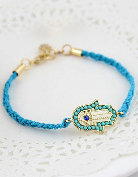 #SheInside Blue Popular Hand Antique Bracelet - Sheinside.com