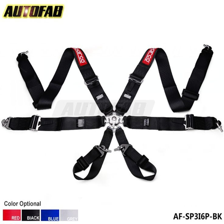 "AUTOFAB - 3"" Strap SP 6 Point Quick Release Racing Buckle Seat Safety Belts (Default Color is Red) AF-SP3I6P-RD"