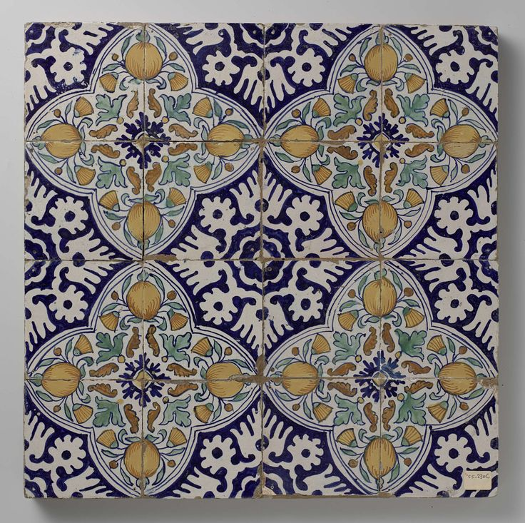 Anonymous   Veld van zestien tegels met granaatappels en goudsbloemen in vier vierpassen, Anonymous, c. 1580 - c. 1620   Veld van zestien tegels (4 x 4) met veelkleurig (blauw, oranje, groen en geel) geschilderde granaatappels en goudsbloemen binnen een vierpas, gevormd uit vier tegels. De vierpassen zijn omgeven door ornament in vultechniek.