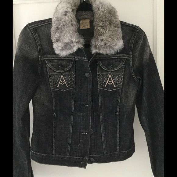 7 for all Mankind denim jacket with fur collar 7 for all of Mankind black colored denim jacket with gray rabbit fur collar. Never worn. Size small. 7 for all Mankind Jackets & Coats