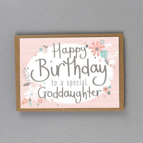 Happy Birthday Card To My Goddaughter Free Uk Delivery Etsy Birthday Cards Daughter Of God Happy Birthday Cards