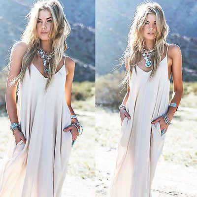 Винтаж хиппи Boho женщины длиной макси вечернее ну вечеринку шифоновое платье пляж платья