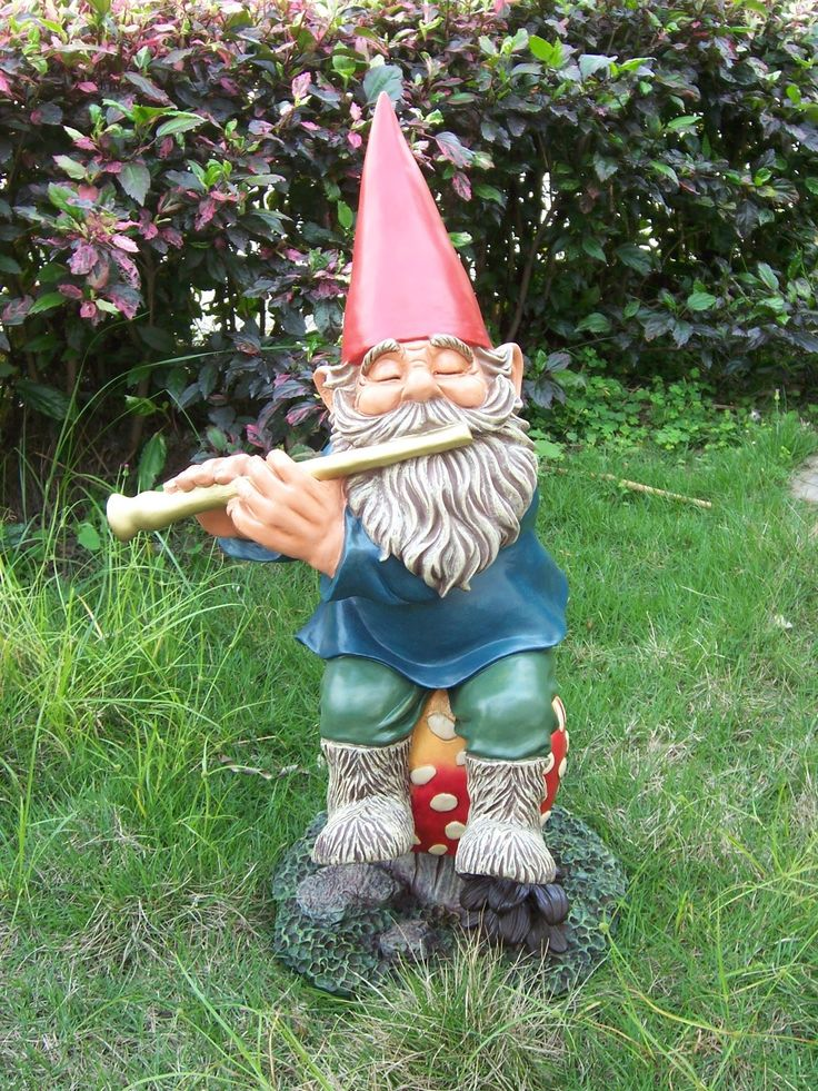 Large Image : Handmade Funny Garden Gnomes Musical Elf With Exquisite .