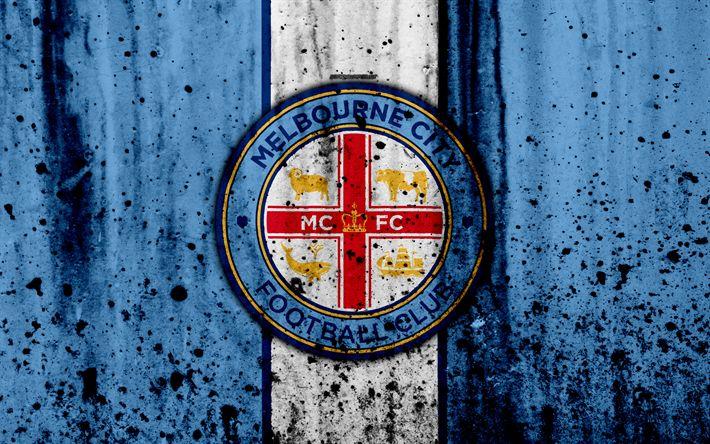 Download wallpapers 4k, FC Melbourne City, grunge, A-League, soccer, football club, Australia, Melbourne City, logo, stone texture, Melbourne City FC