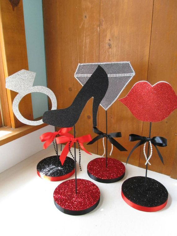 This listing includes 4 table top centerpieces. Shown in red, black, and silver glittery extra thick cardstock. These can be made in any colors to match your party theme.  *these are one-sided only. The back sides are white.